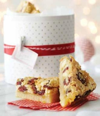 Cranberry, white chocolate and almond squares