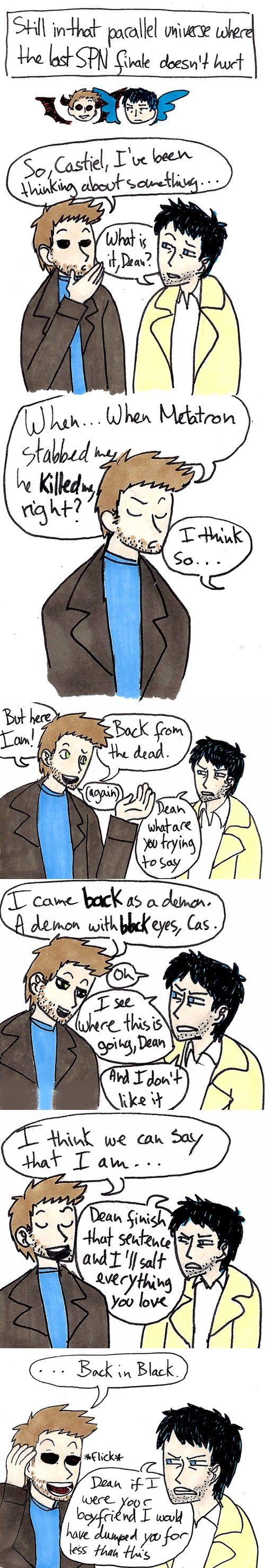 The parallel universe world were the spn finale doesn't hurt