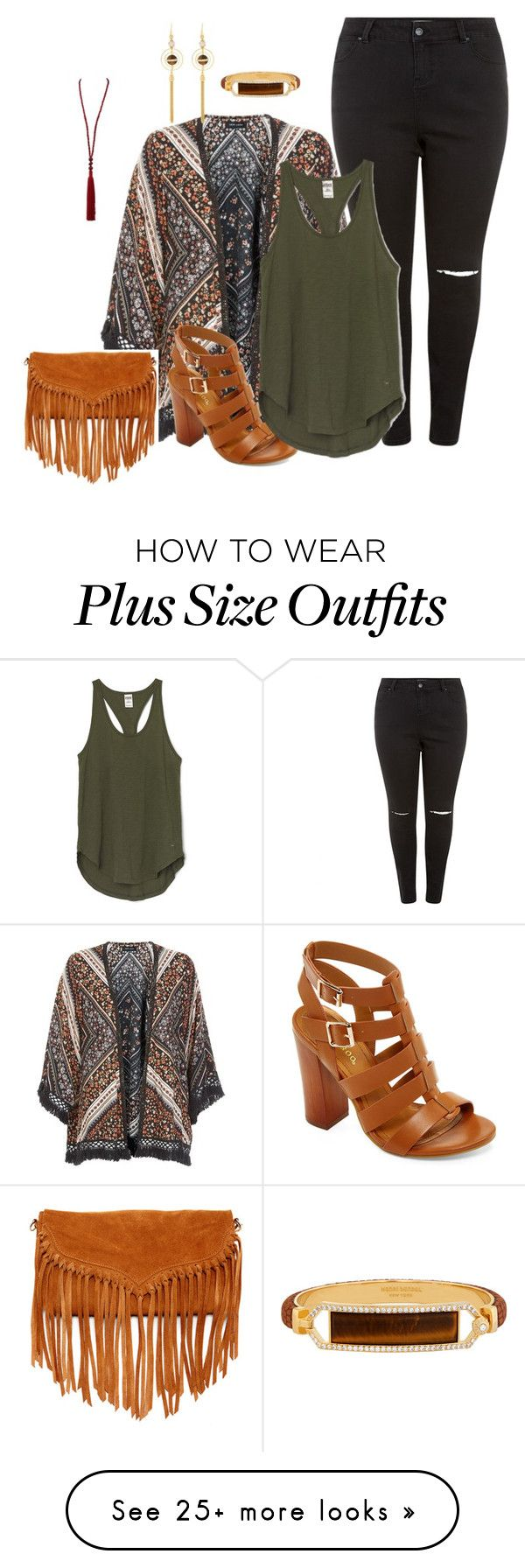 """plus size kimono style/boho chic"" by kristie-payne on Polyvore featuring New Look, Bamboo, SUSU, Oscar de la Renta and Henri Bendel"