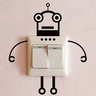 Grappige lichtknop/stopcontact robot sticker - Welkom