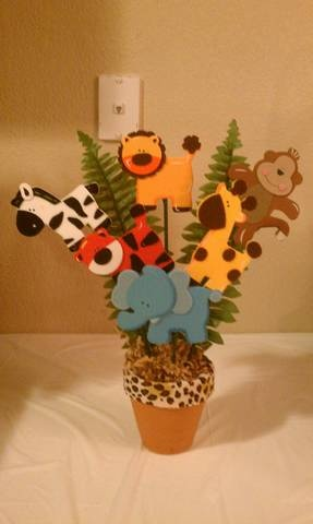 Baby shower centerpieces!! Safari theme, baby animals.