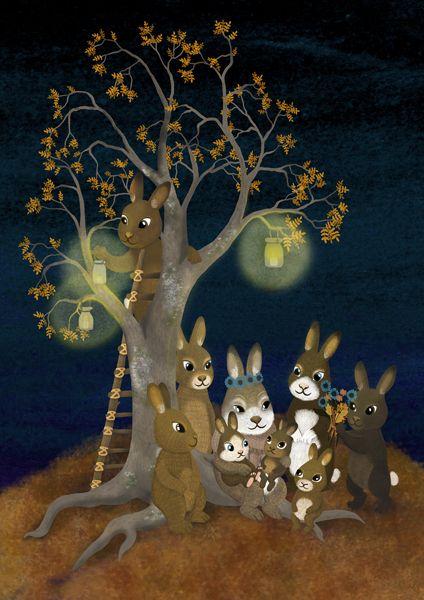 Rabbits with lanterns in the darkest time of year. Postcardillustration. Puput valaisemassa pimeää vuodenaikaa. Korttikuvitus Kartolle. Jonna Markkula.
