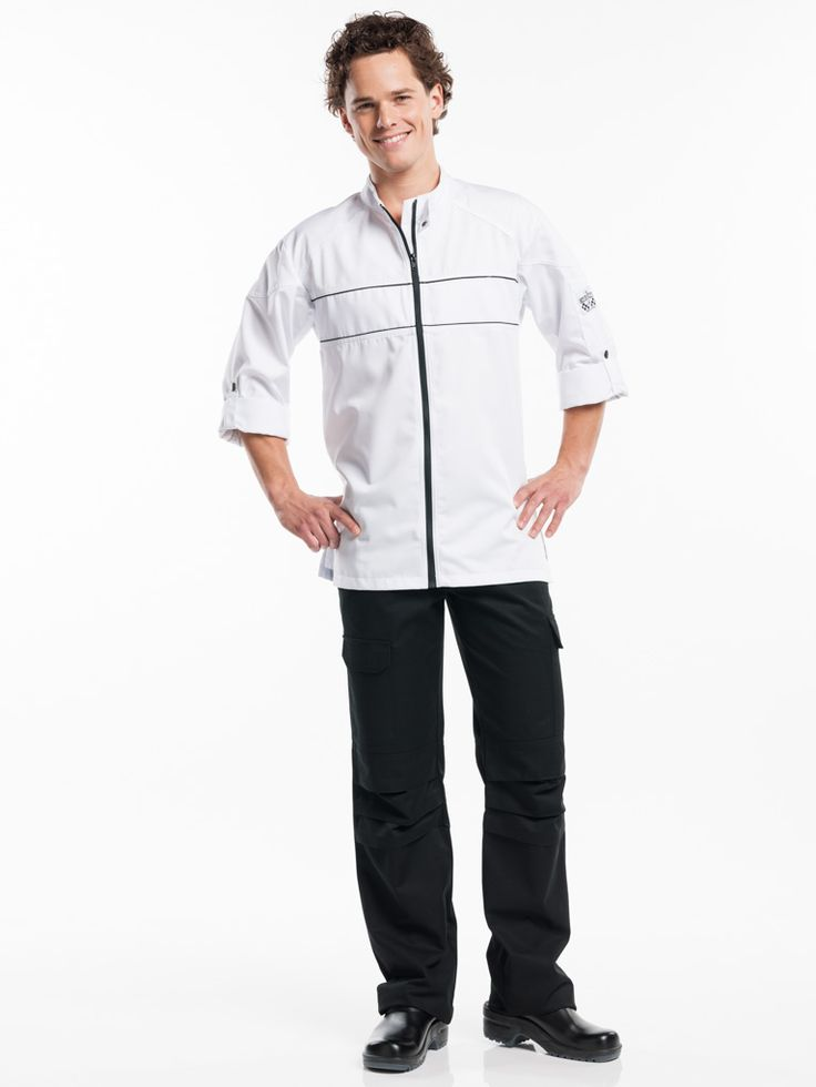 #937 Chef Jacket Guzzi White - The trendy look of this Monza jacket is elevated to a new level in the Guzzi collection. This chef jacket is actually a biker's jacket in disguise. The jacket has double-stitched seams, a contrasting zip and piping and additional stitching on the shoulders and back. The sleeves can be rolled up and fastened with a loop. Practical and functional, just like a real biker's jacket.  Straight Fit Zip-fastening With sleeve holder
