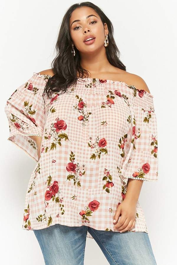a3e1c4a30fc24 FOREVER 21 Plus Size Floral Gingham Off-the-Shoulder Top..love the color  and the print. It has a boho vibe which I love as well.