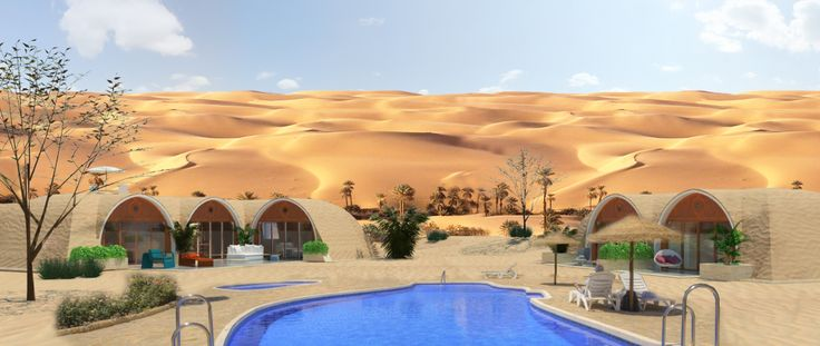 The sand is a limitless resource in many places of the world. GREEN MAGIC HOMES, a never seen before constructive solution that offers beauty, comfort, and economy at the same time, to produce as a result a new generation of Architecture and Engineering that ensures freshness inside, reducing up to 20 degrees Celsius of temperature and generating large energy savings, offering the possibility of living in an Oasis in the middle of the desert.