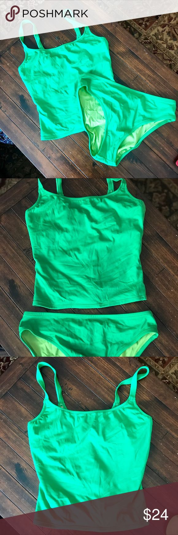 J. Crew Green Tankini Swimsuit A pop of color for your summer fun! Top is size 8 with D-cup underwire bra. Small tear on interior bra. Straps are not adjustable. Bottoms are high-cut, size Large. EUC except as noted.  Fast same or next business day shipping! From a dog-friendly, nonsmoking home. Offers welcomed! Bundle for a private discount! J. Crew Swim