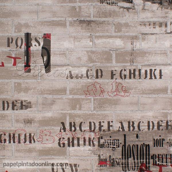 papel pintado funny walls de ladrillos marrones con estilo industrial antiguo y letras