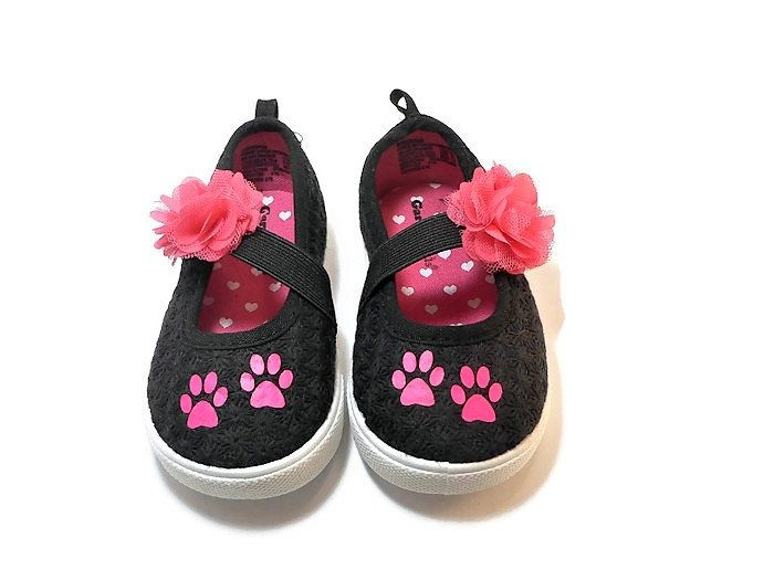 1a27323986186 Black & Pink Paw Print Dog or Cat Girls Toddler Shoes, Slip on Puppy ...