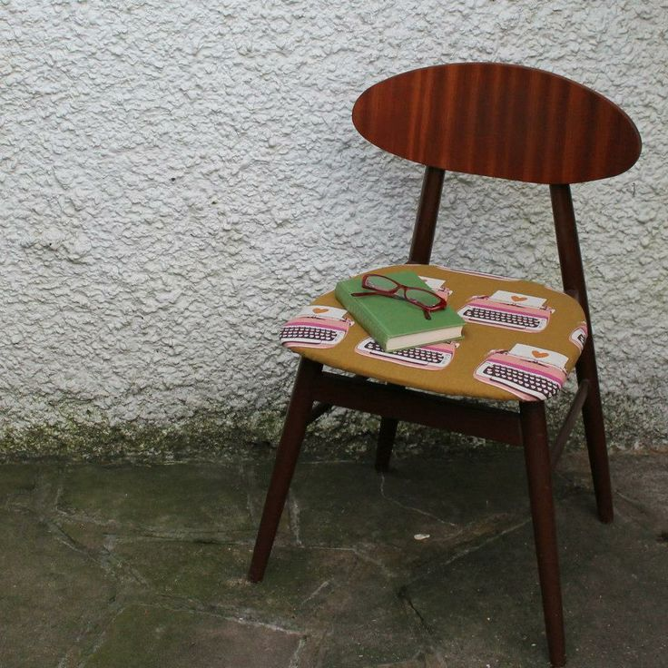 Deskchair recovered in yummy Melody Miller Typewriter fabric from Kokka by Vinnie & Bea