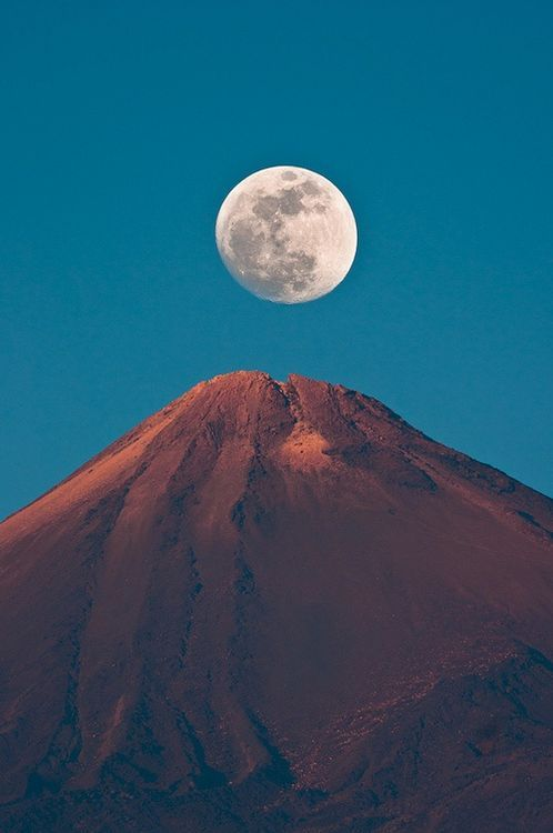 Moon Over Mt. Teide, Spain