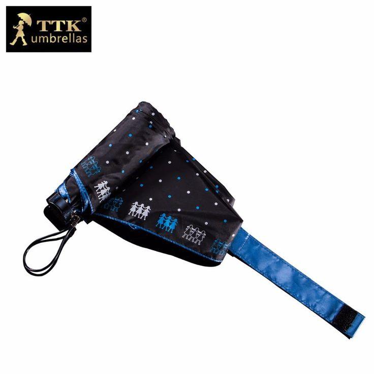 [Visit to Buy] umbrella female 5 fold umbrella mini black waterproof beach uv TTK brand pocket small sun parasol children umbrella rain women #Advertisement