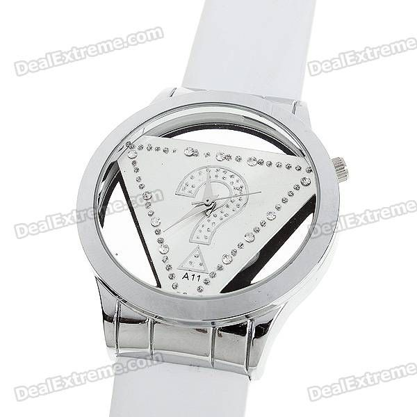 Stylish Quartz Wrist Watch with Crystal - White (1*377) - Free Shipping - DealExtreme