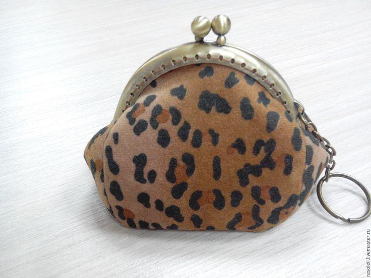"""Купить Кошелек """"Хищник"""". - кошелек на фермуаре, леопардовый принт, искусственная замша, фермуар пришивной"""