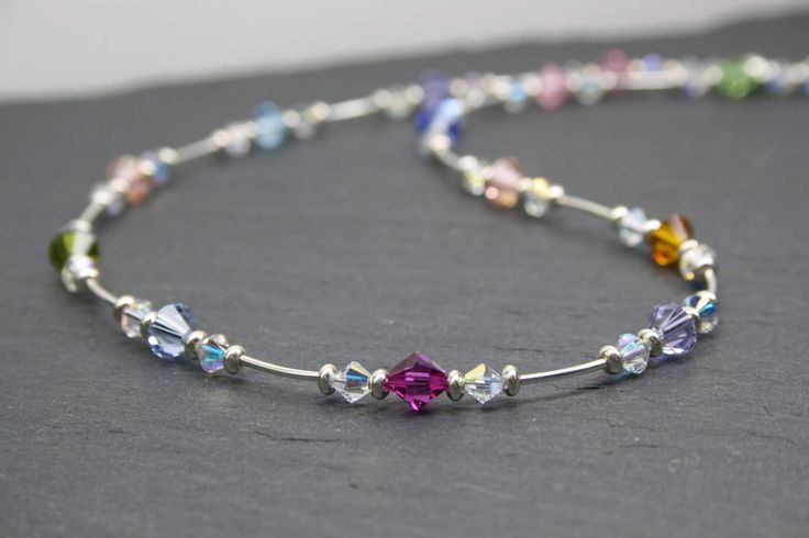Rainbow Crystal Necklace, Rainbow Jewellery, Multicoloured Necklace, Mothers Day, Dainty Silver Necklace, Swarovski Crystal, Sterling Silver by MystiqueBlueJewelry on Etsy