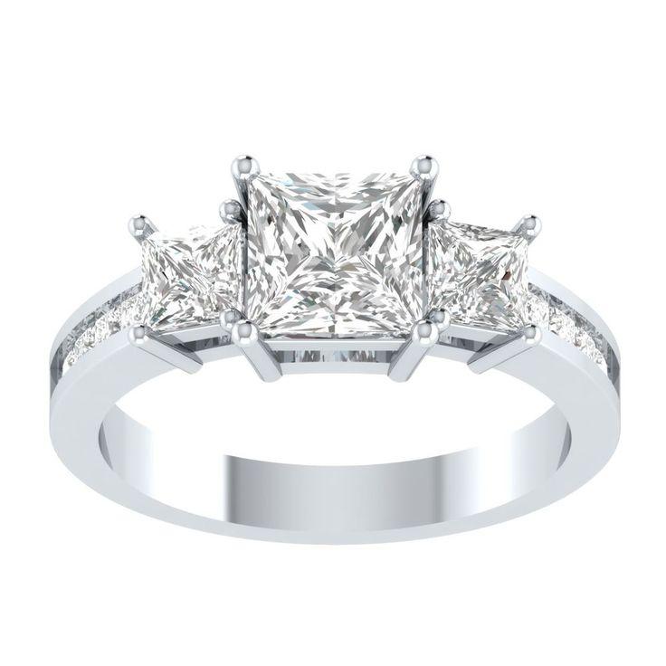 2.25 ct 3 stone Princess Cut Diamond Engagement Ring Real 14kt Solid White Gold #PanacheJewels #ThreeStone #Engagement