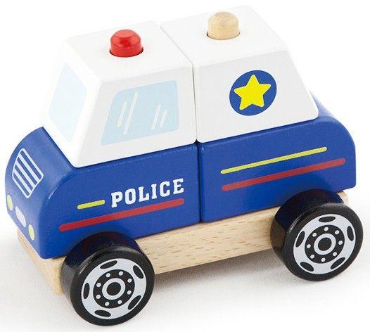 Deze houten auto is niet alleen een politieauto maar ook een puzzel. Op het onderstel van de auto vind je twee pinnen waar je de blokjes opstapelt om een politieauto te bouwen.   Afmeting: 90x160x160 mm - Stapel Auto New Classic Toys: politie 13x10x8 cm