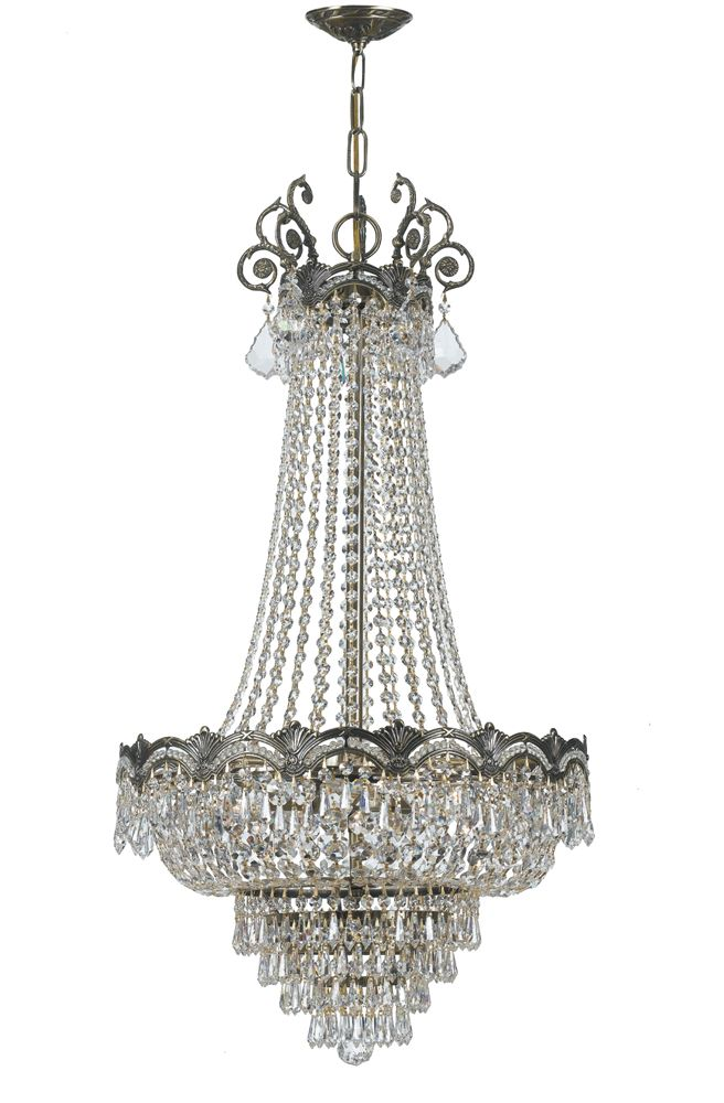 majestic collection 8 light chandeliers with hand polished crystals shown in historic brass by crystorama lighting