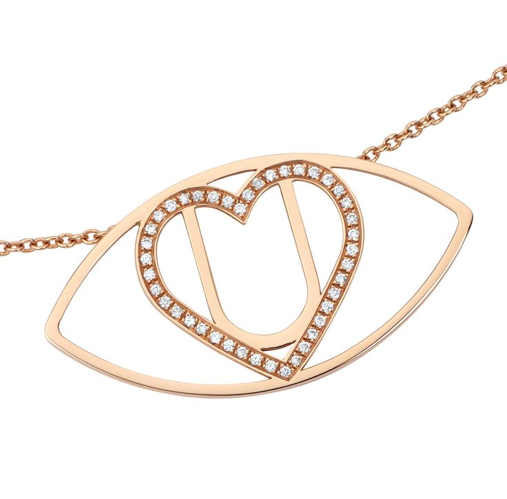 "'Floating Desire' from 'I Love You: The Project'.  Wrap our ""I Love You"" Symbol around your neck with this delicate necklace in pink gold, with a heart adorned with 18 diamonds.   #iloveyou #luxury #luxuryjewellery #diamonds #luxurynecklace #love #gold #jewellery #necklace"
