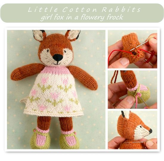 Knitting pattern for a girl fox. Julie Williams has some excellent patterns for sale. Take a look at some of her animal patterns (she's on Ravelry). Great great stuff!