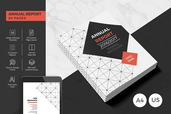 Modern Annual Report 20 Pages by BrochuresFactory on @creativemarket