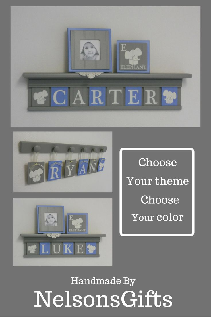 So cute... elephant custom name signs and shelves for your babies nursery painted and personalized by NelsonsGifts