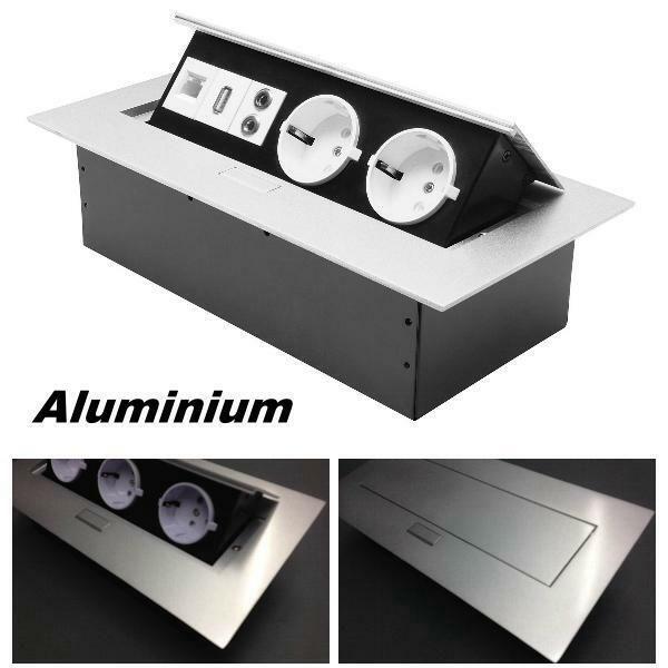 Tischsteckdose Einbausteckdose 2fach Usb Aluminium Wand Kuche Versenkbar Wand Kuche Steckdosen Usb