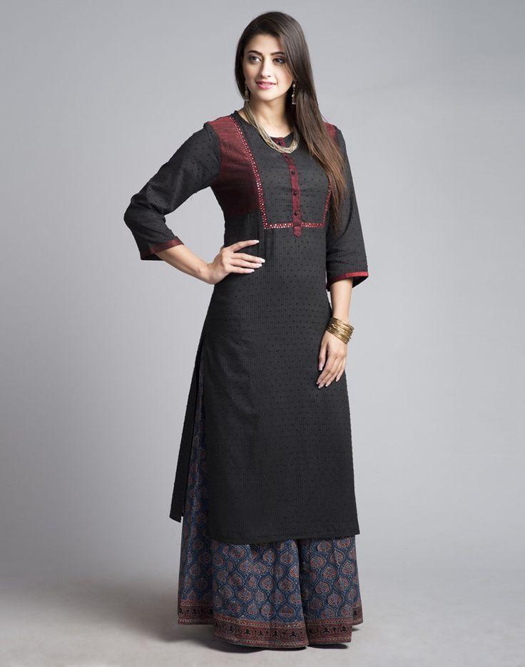 Cotton Dobby Texture Embroidered Long Kurta-Black: Buy Fabindia Cotton Dobby Texture Embroidered Long Kurta-Black Online in India. – Fabindia.com