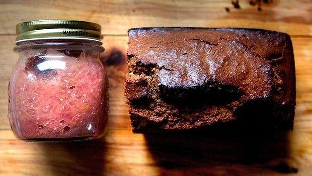 Paleo power: Arabella Forge's grain-free bread, and a jar of rhubarb-chia jam.