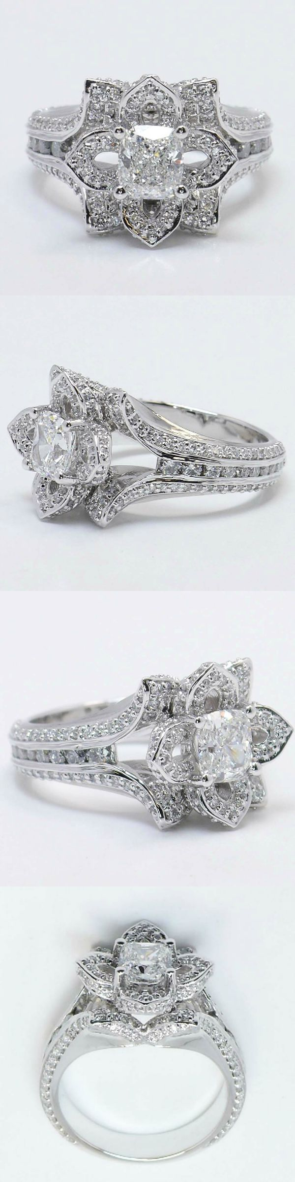 Cushion cut flower inspired diamond ring cushion 1 02 ctw color g clarity