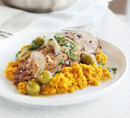 Moroccan chicken with sweet potato mash. Fragrant, tender chicken and creamy sweet potato mash makes a comforting and low-fat midweek meal.