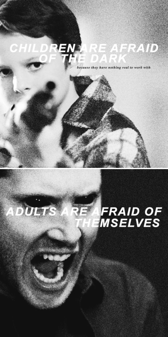 "images from 10x03 Soul Survivor & 1x18 - ""Children are afraid of the dark because they have nothing real to work with.  Adults are afraid of themselves"" - Richard Siken, Black Telephone - Dean Winchester; Supernatural"