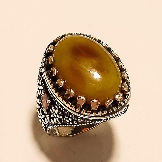 925 Sterling Silver Turkish Handmade Ottoman Amber Men/'s Luxury Ring