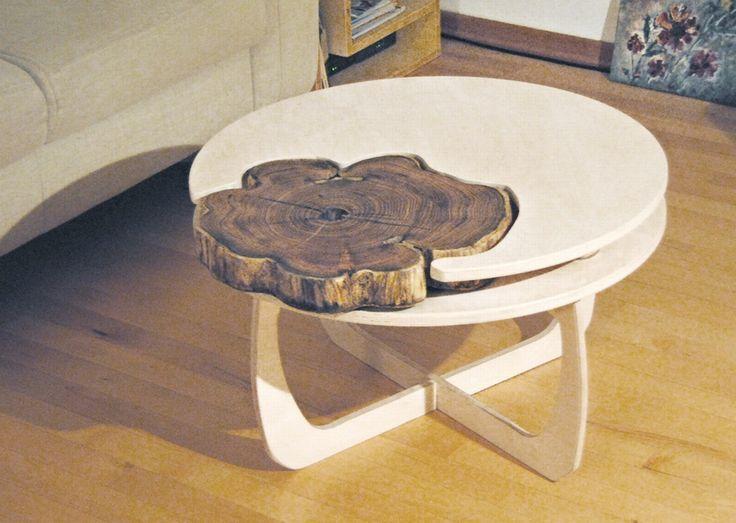 DIY Tisch Couchtisch Material Tischlerplatte Baumscheibe Robinie Unterbau Abnehmbar Aus Sperrholz
