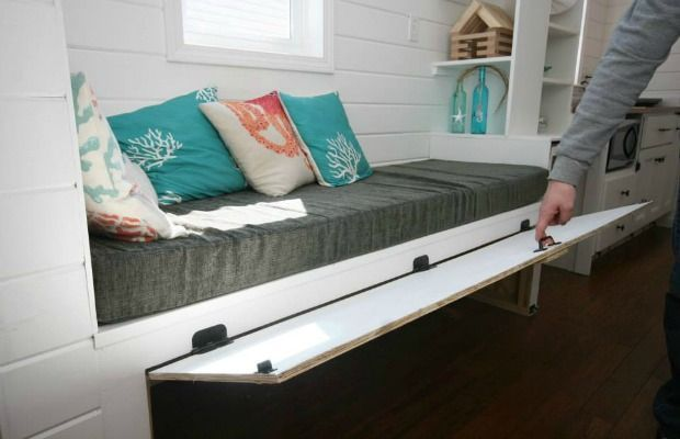 Tiny House Storage Tricks - Small Space Organizing | 2. Stow stuff under a bench.