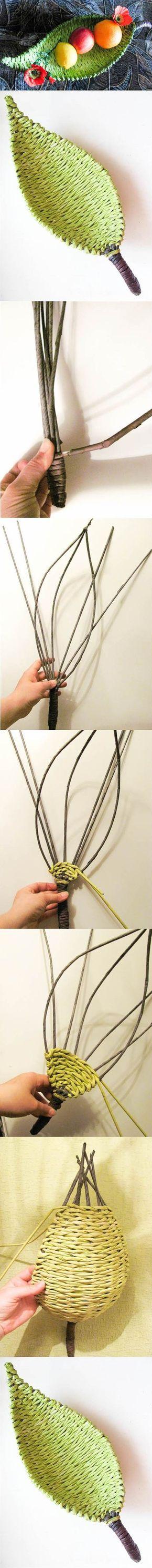 DIY selbst gewebte Schale in Form eines Blattes.