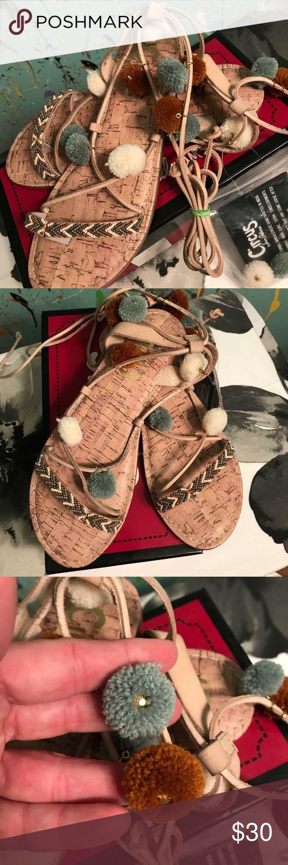 🌵CIRCUS by Sam Edelman🌵Valencia Ankle Tie Sandal 🌵Flat thong sandal 🌵pom accents & beaded detailing 🌵Cute ankle ties 🌵Fun boho flair      ⭐️NIB⭐️ Circus by Sam Edelman Shoes Sandals