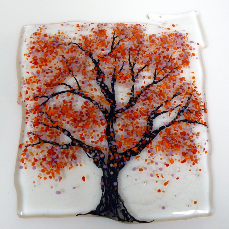 Autumn Tree--Beautiful Free Form Fused Glass Autumn Tree