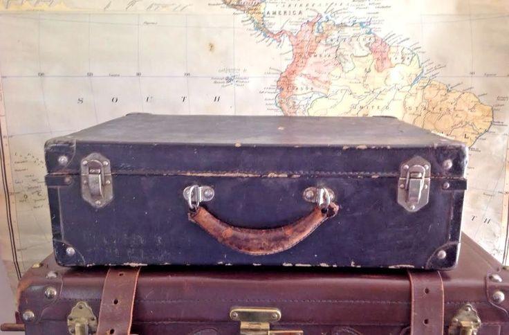 Vintage Black Cardboard Suitcase Luggage Storage Travel Case Primitive Display