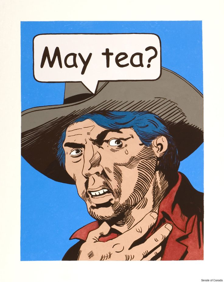 "David Garneau - ""May Tea?"" - ""Edmonton-based Metis artist David Garneau drew on the influence of comic illustrations for this painting. It shows a man saying ""May Tea?"" as though it were a question, depriving it of its meaning, and holding a hand to his neck in a reference to the hanging of Louis Riel."""