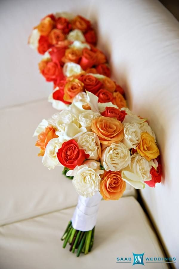 Wedding Bouquets Jamaica : Orange and white brides bridesmaids bouquet with roses