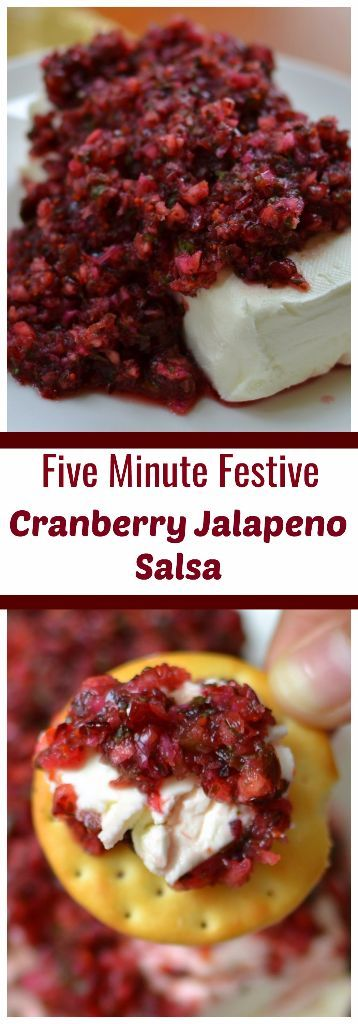 This Five Minute Festive Cranberry Jalapeno Salsa combines fresh cranberries, jalapenos, cilantro, red onions, honey and lime juice into an amazing treat.