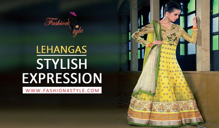 Lehanga's Stylish Expression | http://www.fashion4style.com/woman/clothing/designer-suits/lemon-designer-anarkali-salwaar--suit/pid=MjQ2   #shaadi #fashion #love
