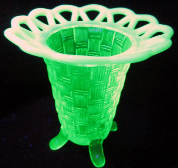 Fenton Green Opalescent Basket Weave Open Lace Footed Vase By Ddb7 Glassware Pinterest