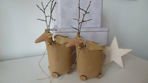 Weihnachtsfiguren - 2 RENTIERE KLEIN, ELCHE, DEKO WEIHNACHTEN - ein Designerstück von patchworktante123 bei DaWanda