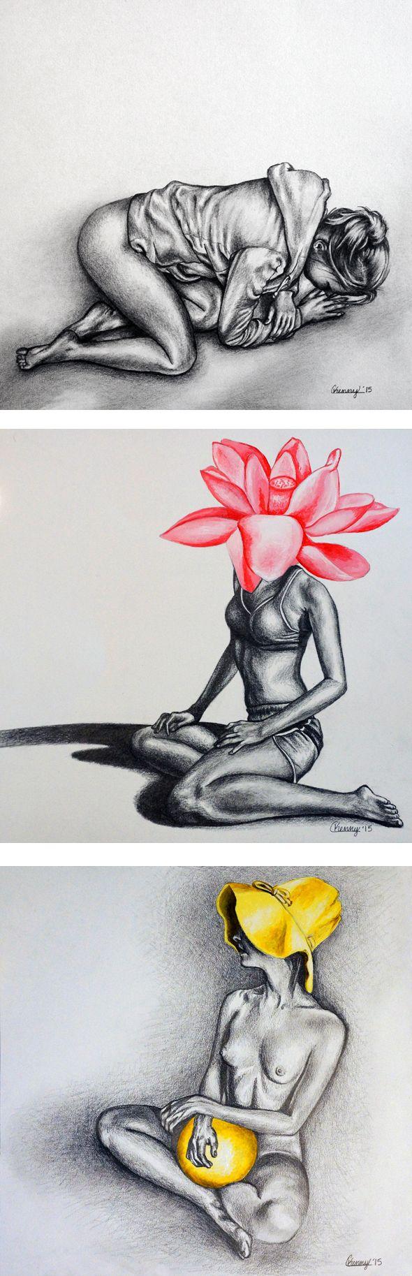 Courtney Kenny Porto graphite drawings #yellow #pink #flower #feminism #female #form #realism #modern #figurative