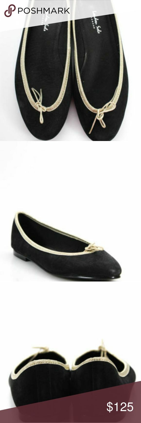 London Sole black gold ballet flats 40 in box Black suede with gold piping ballet flats. Worn once. Runs small..it says 40 but would best fit a 9 or 9 and a half with narrow to medium width London Sole Shoes Flats & Loafers