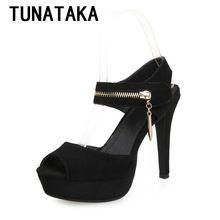 Tunataka haute - talons hauts sandales dames été mode en daim en cuir chaussures femmes chaussures plate - forme du parti(China (Mainland))