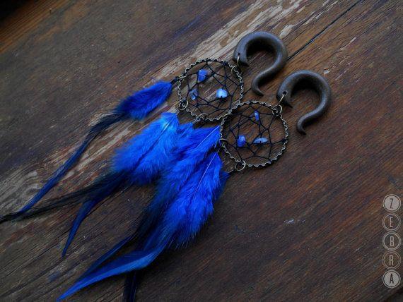 1pcs Blue Dreamcatcher Tribal feathers gauges,long dangle,custom size 4,5,6,8,10,12,14,16,18,20 mm,6g,2g,0g,00g,1/4,1/2,5/16,9/16,5/8,3/4