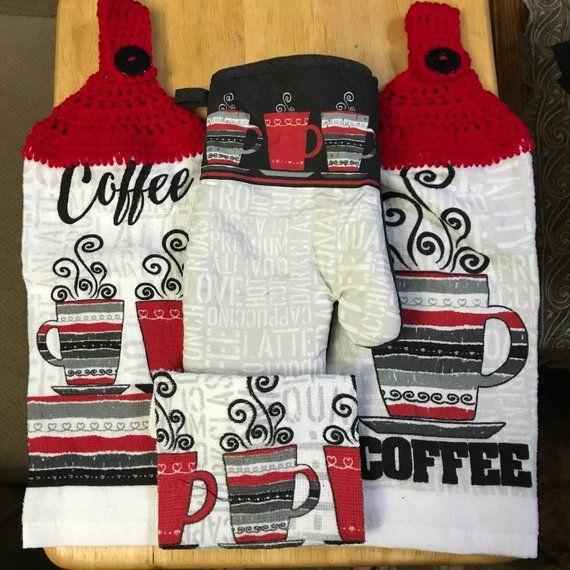 Coffee Red White Black Kitchen Gift Set Matching 2 Crochet Top