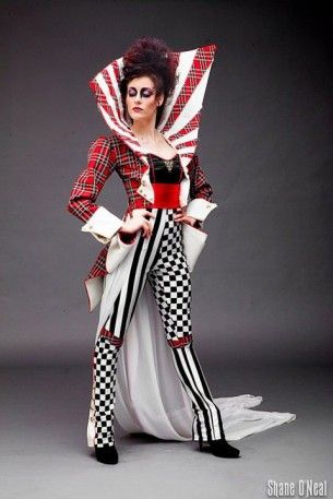 I like the patterns in this for the show - Circus Couture 2011 -- 'Revolution' runway design. Front view